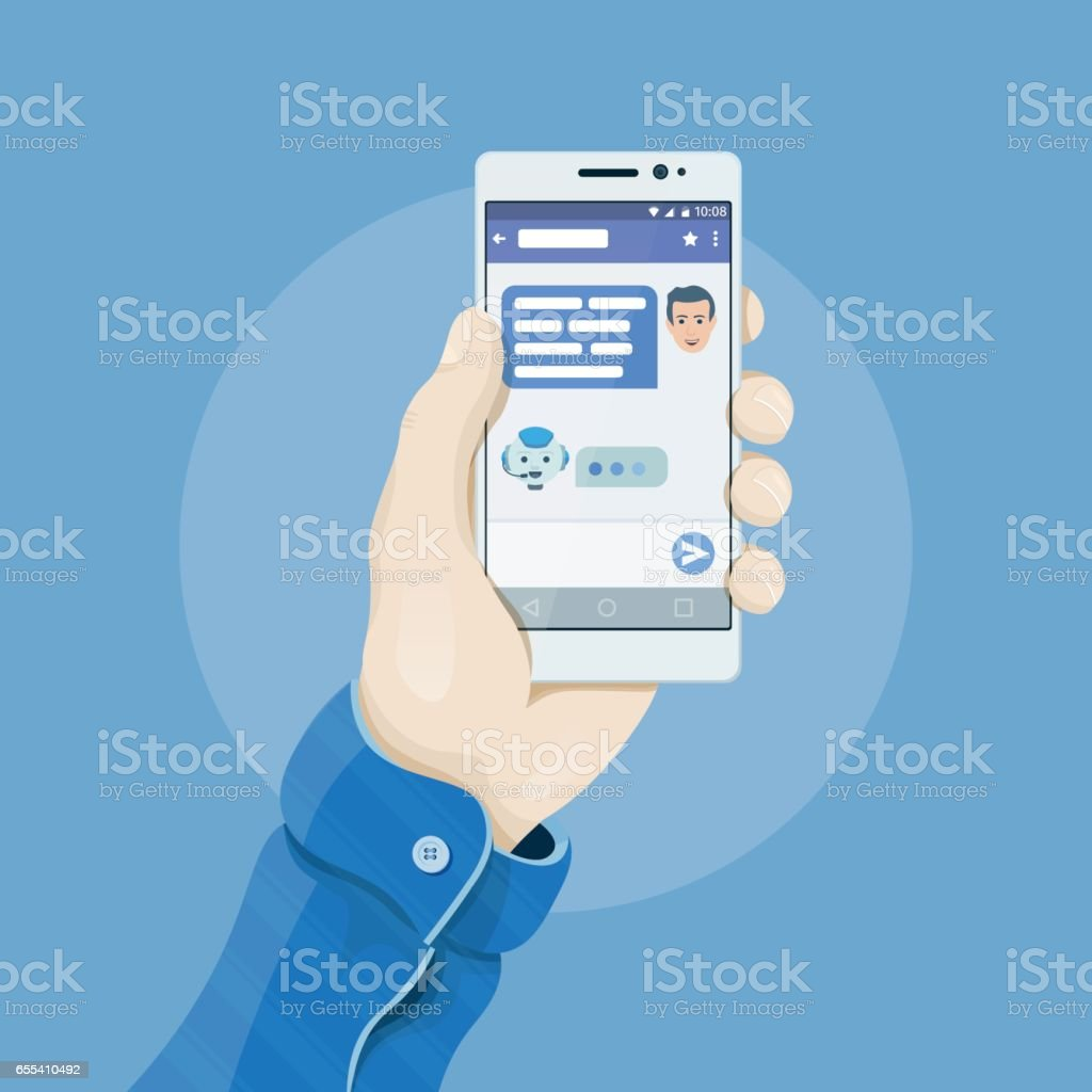 Hand holding smartphone with chatting bot application on the screen. Chatbot concept. Man's hand holding a phone concept. vector art illustration