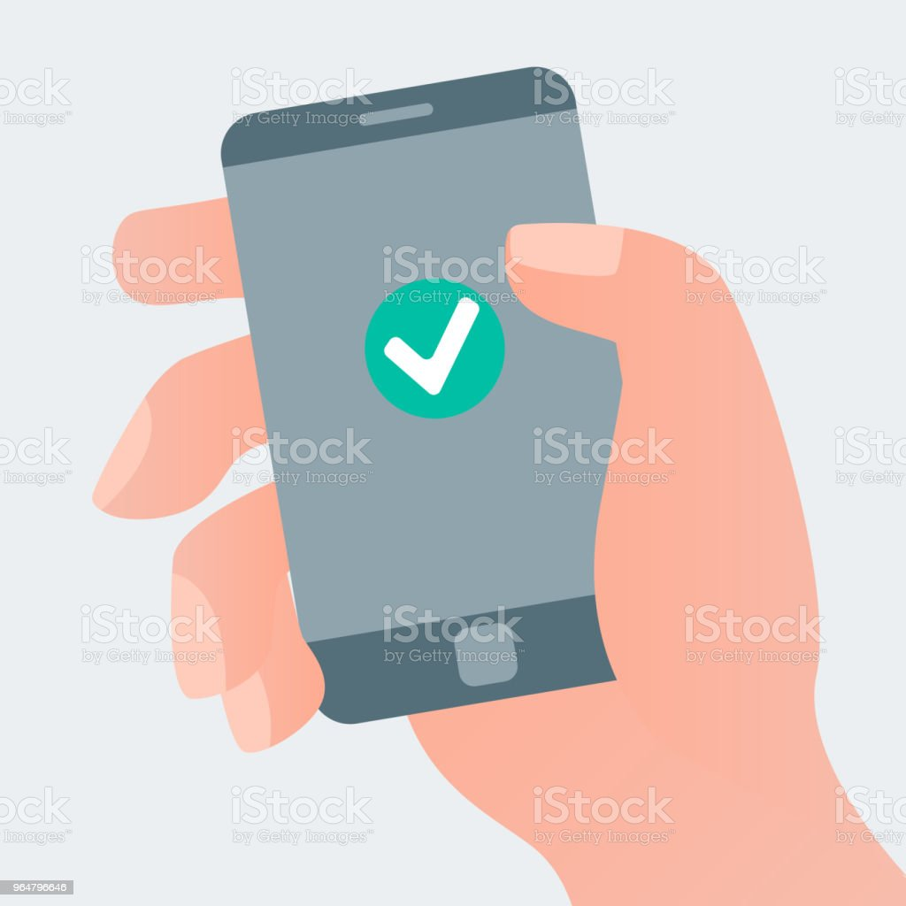 Hand holding smartphone with check mark royalty-free hand holding smartphone with check mark stock vector art & more images of accuracy