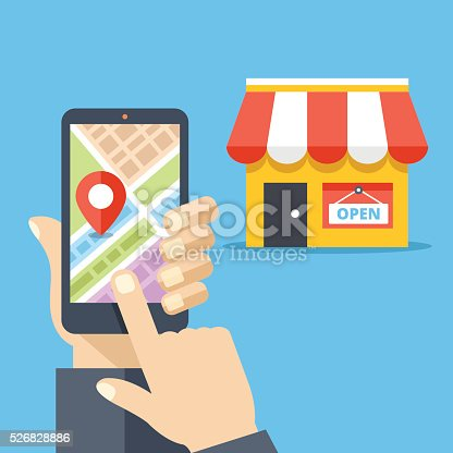 Hand holding smartphone with city map and store location on screen and store icon. Mobile navigation, gps navigator, route concepts. Modern flat design vector illustration isolated on red background
