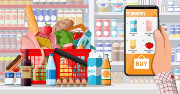 Handhalten Smartphone mit Lebensmittel-Shopping-App – Vektorgrafik