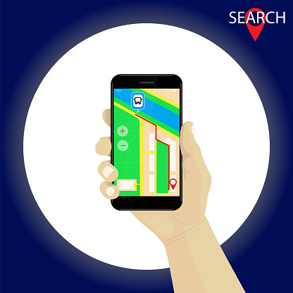 Hand holding smartphone with gps navigation map and route. Red marker.  Bus stop.