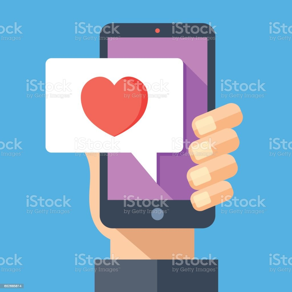 Hand holding smartphone with heart emoji message on screen, like button. Love confession, like. Social network and mobile device. Flat design vector illustration vector art illustration