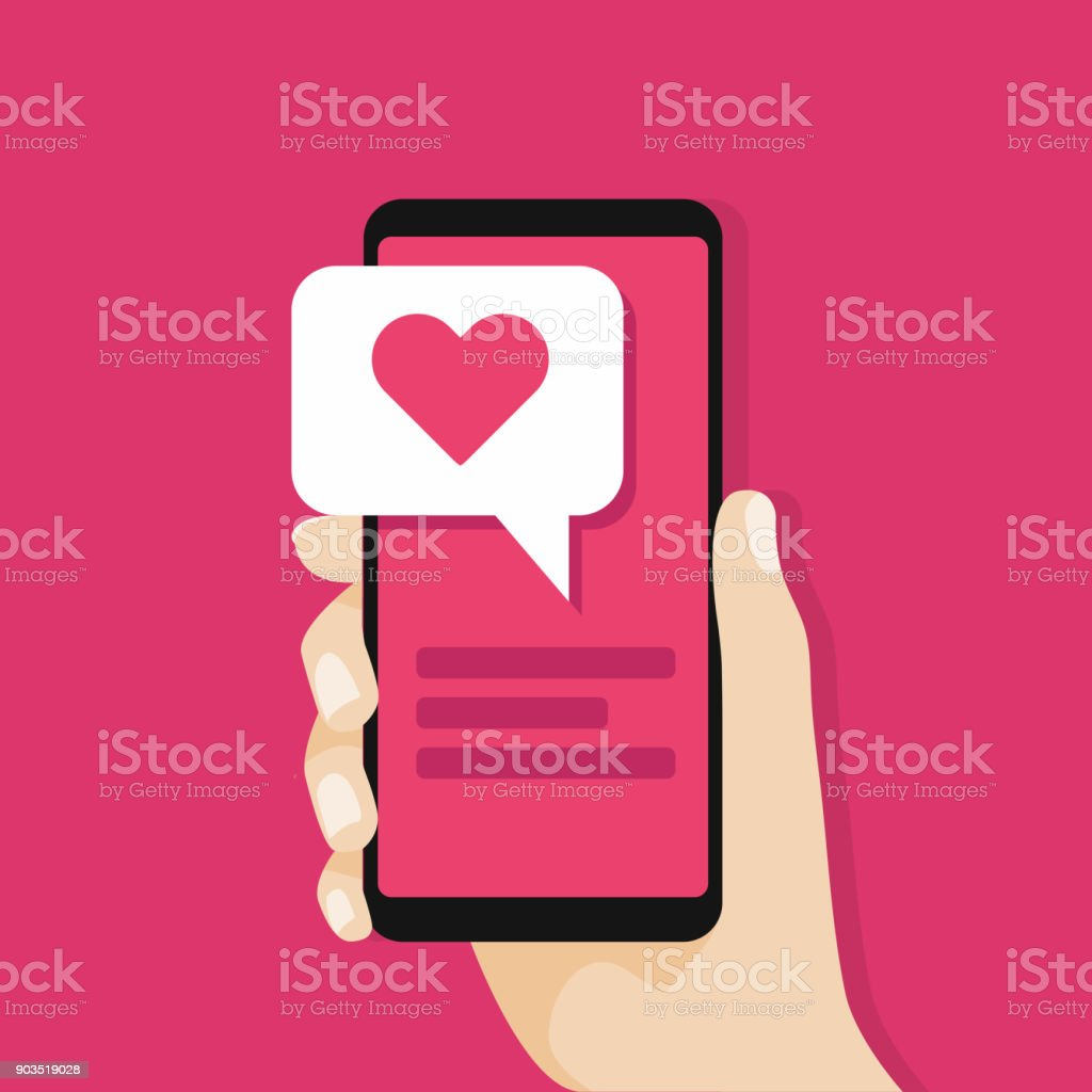 Hand holding smartphone with love message on screen. Social network concept. vector art illustration