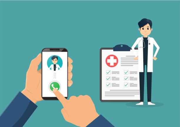 Mano sosteniendo teléfono inteligente con médico masculino de guardia y una consulta en línea. Ilustración plana vectorial. - ilustración de arte vectorial