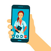 Hand holding smartphone with online video conversation with doctor. Doctor giving medical consultation on smartphone via video chat. Online doctor concept. Vector illustration, eps8