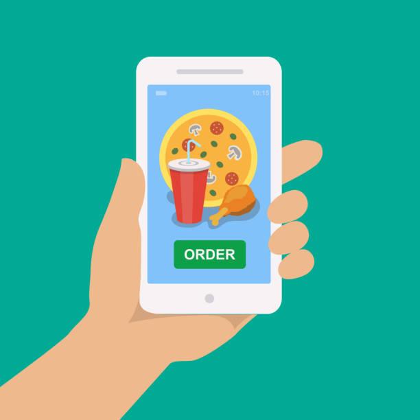 handhalten des smartphones mit pizza, cola und huhn - bestellen stock-grafiken, -clipart, -cartoons und -symbole