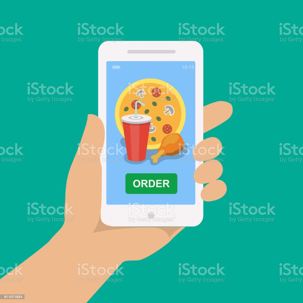 Hand holding smartphone with pizza, cola and chicken vector art illustration