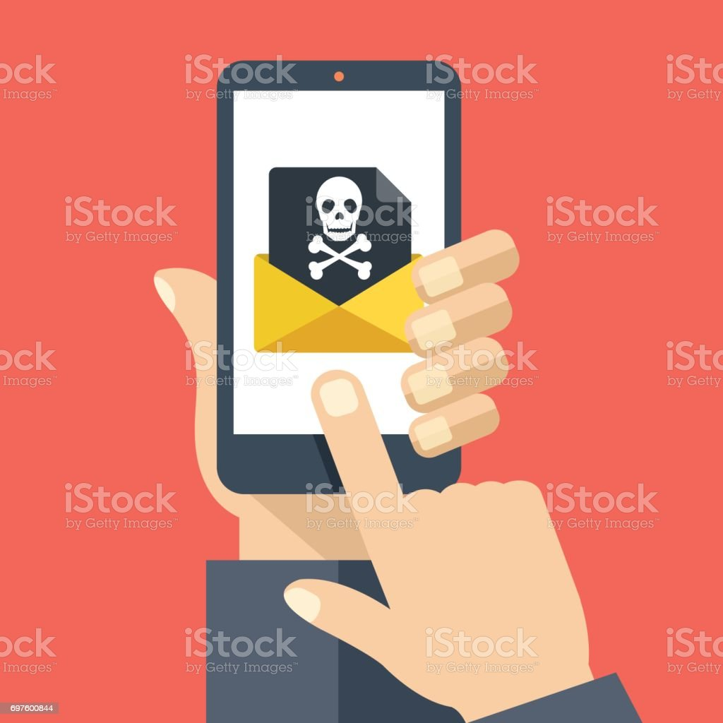 Hand holding smartphone with received envelope with black document and skull icon. Email fraud, virus, malware, e-mail spam, scam, hacker attack, phishing concept. Flat design graphic with long shadow. Vector illustration vector art illustration