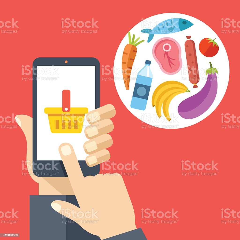 Hand holding smartphone with shopping basket, food products. Buy online vector art illustration