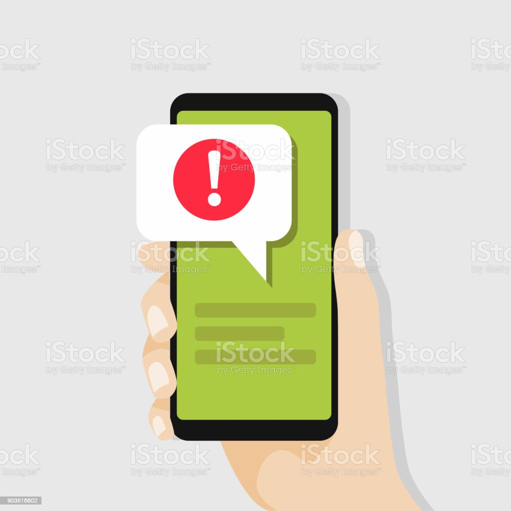 Hand holding smartphone with speech bubble and exclamation point icon.
