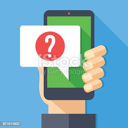 Hand holding smartphone with speech bubble and question mark icon. Ask for help, question, support, digital helper concept. Modern flat design graphic elements. Long shadow design. Vector illustration