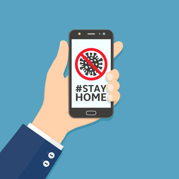 Handhalten Smartphone mit bleiben zu Hause Hashtag auf dem Bildschirm – Vektorgrafik