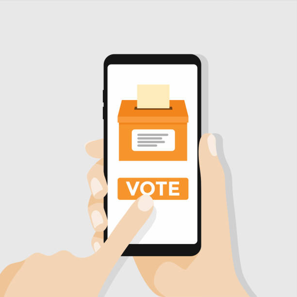 Hand holding smartphone with voting button on the screen. Hand holding smartphone with voting button on the screen. vector voting stock illustrations