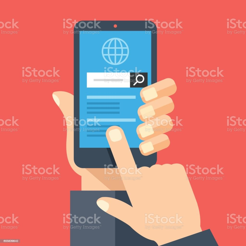 Hand holding smartphone with web browser and search bar on screen. Finger touches screen. Mobile internet usage, search on the internet concepts. Flat design vector illustration vector art illustration