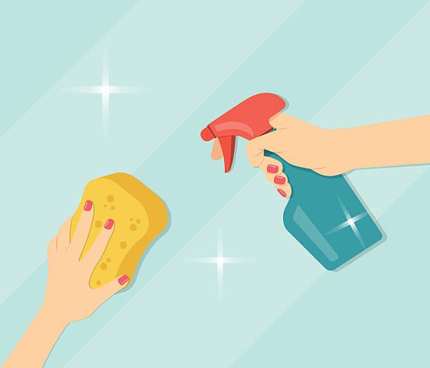 hand halten schwamm und waschmittel. flache vektor-illustration - fenster putzen stock-grafiken, -clipart, -cartoons und -symbole
