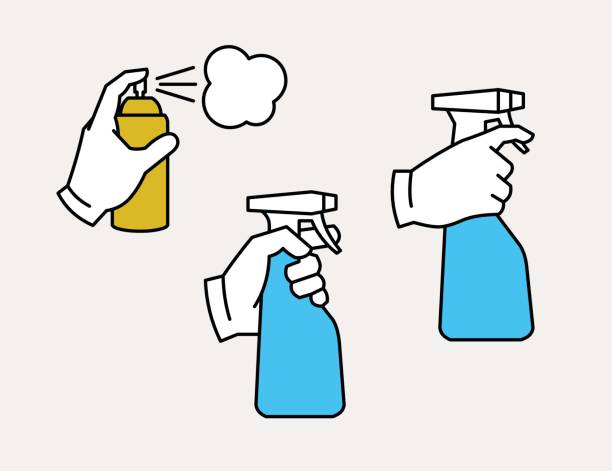 Hand holding spray bottle and spray can Hand holding spray bottle and spray can aerosol can stock illustrations
