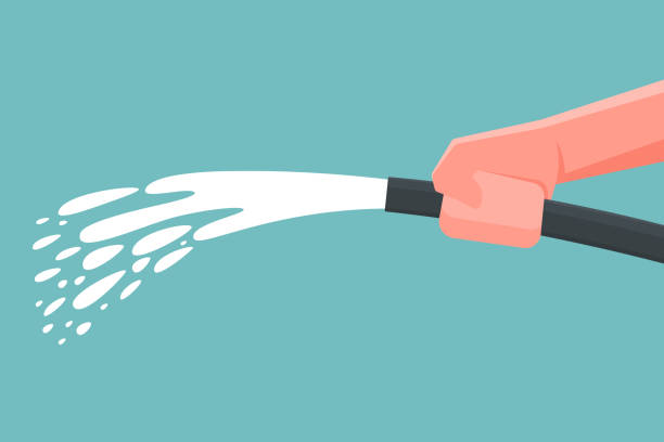 Hand holding spray water hose. Vector illustration Hand holding spray water hose. Vector illustration hose stock illustrations