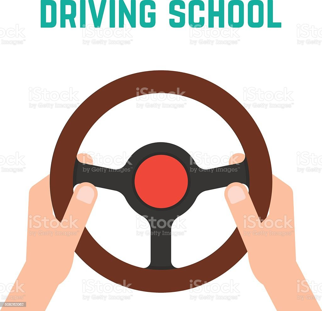 hand holding steering wheel vector art illustration