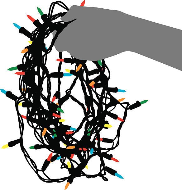 ilustrações, clipart, desenhos animados e ícones de mão segurando a silhueta de cordas de luzes - amarrado