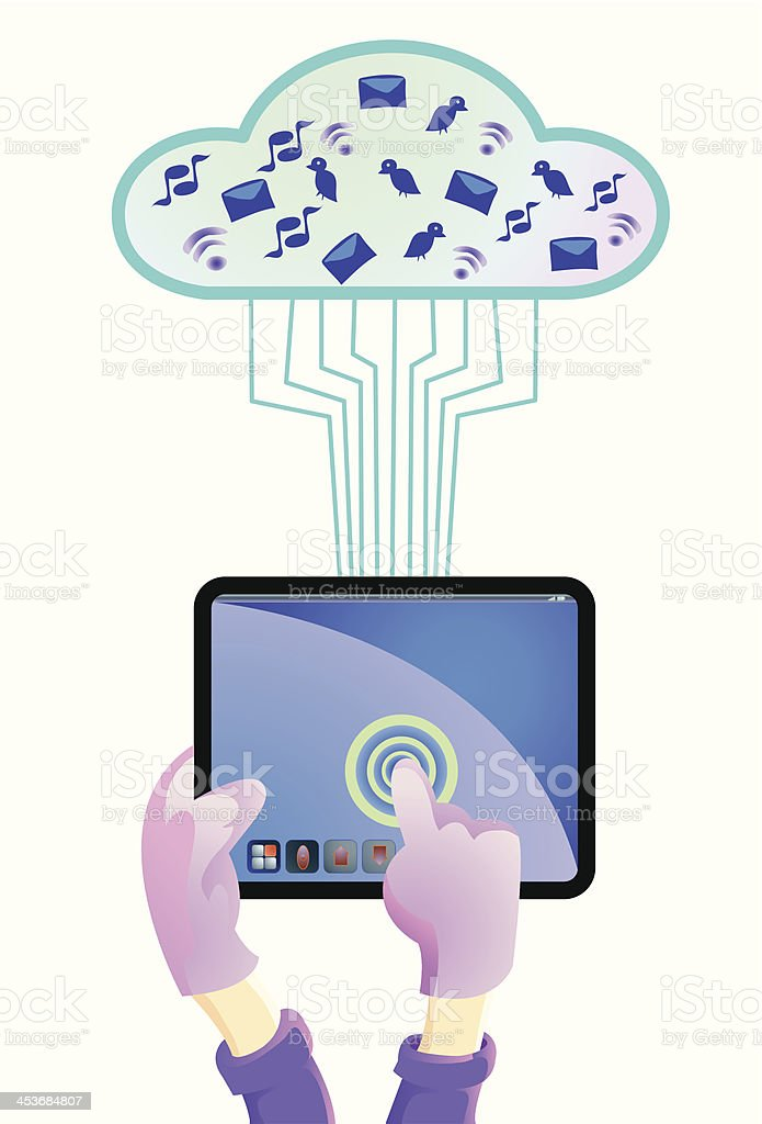 hand holding tablet PC royalty-free stock vector art