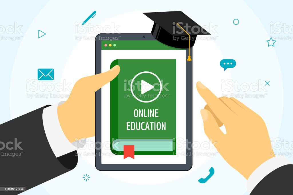 Hand holding tablet with online course green cover book. Distance...