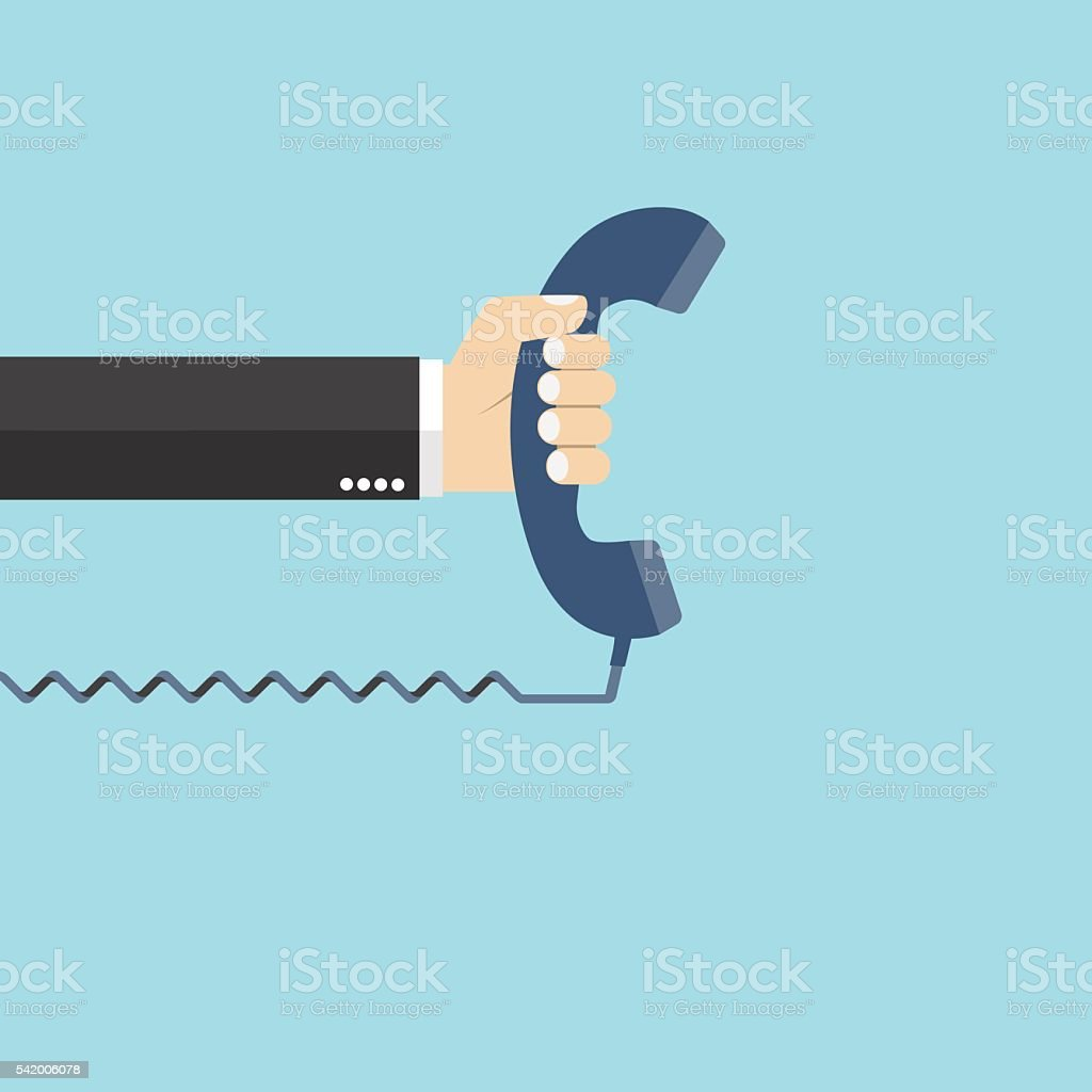 Hand holding telephone vector art illustration