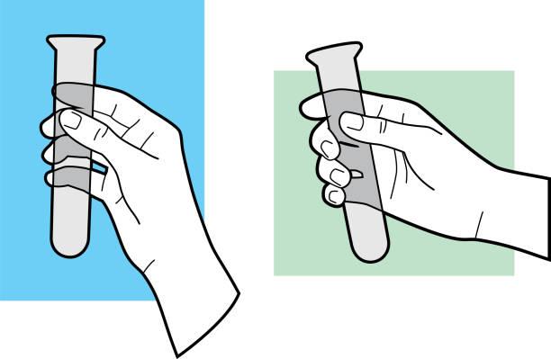 illustrazioni stock, clip art, cartoni animati e icone di tendenza di hand holding test tube line art - hand on glass covid