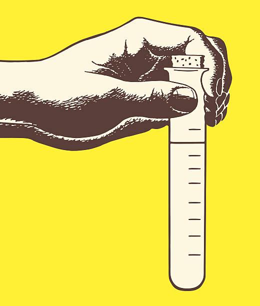Hand Holding Test Tube vector art illustration