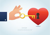 hand holding the big key with keyhole on red heart vector illustration
