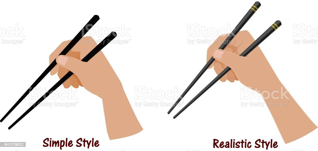 Hand holding the chopsticks on transparent background. Easy to use for grabing everything that you want to present vector art illustration