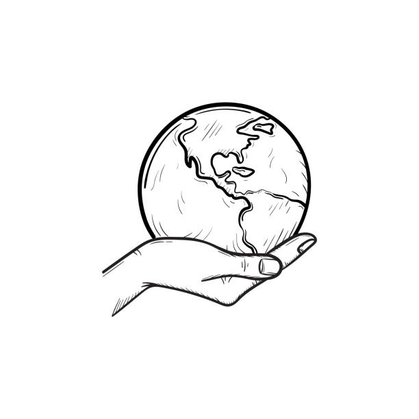 Best Hands Holding Earth Drawing Illustrations, Royalty