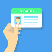Hand holding the id card. Vector illustration.