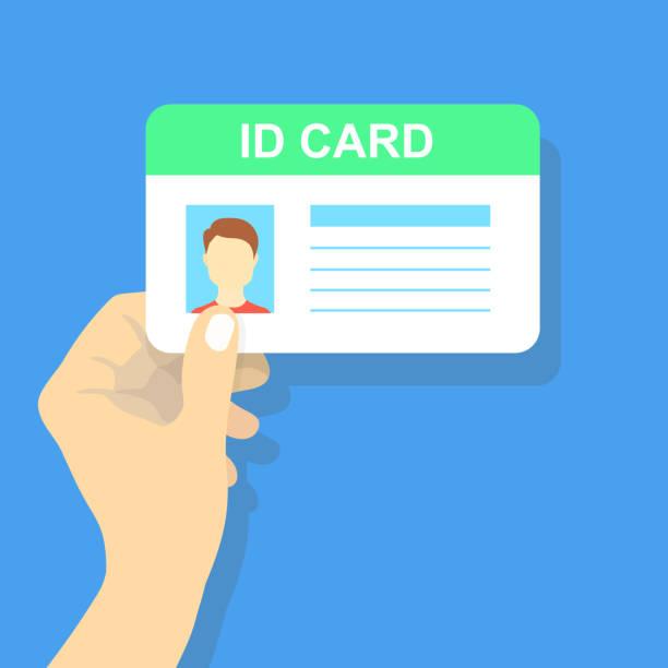 ilustraciones, imágenes clip art, dibujos animados e iconos de stock de mano que sostiene la tarjeta de identificación. ilustración de vector. - carne