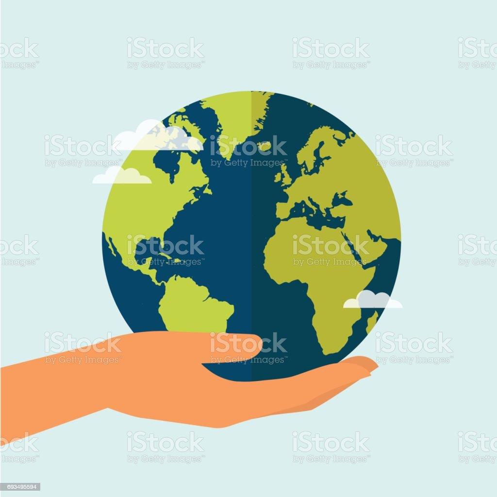 Mano agarrando el mundo - ilustración de arte vectorial