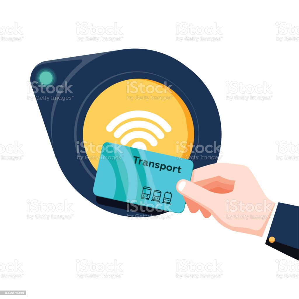Hand holding transport card near terminal. Airport, metro, bus, subway ticket terminal validator. Contactless or cashless payment