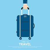 Hand holding travel bag.