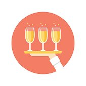 Hand Holding Tray with Champagne Wine Glasses. Catering Service and Company Illustration