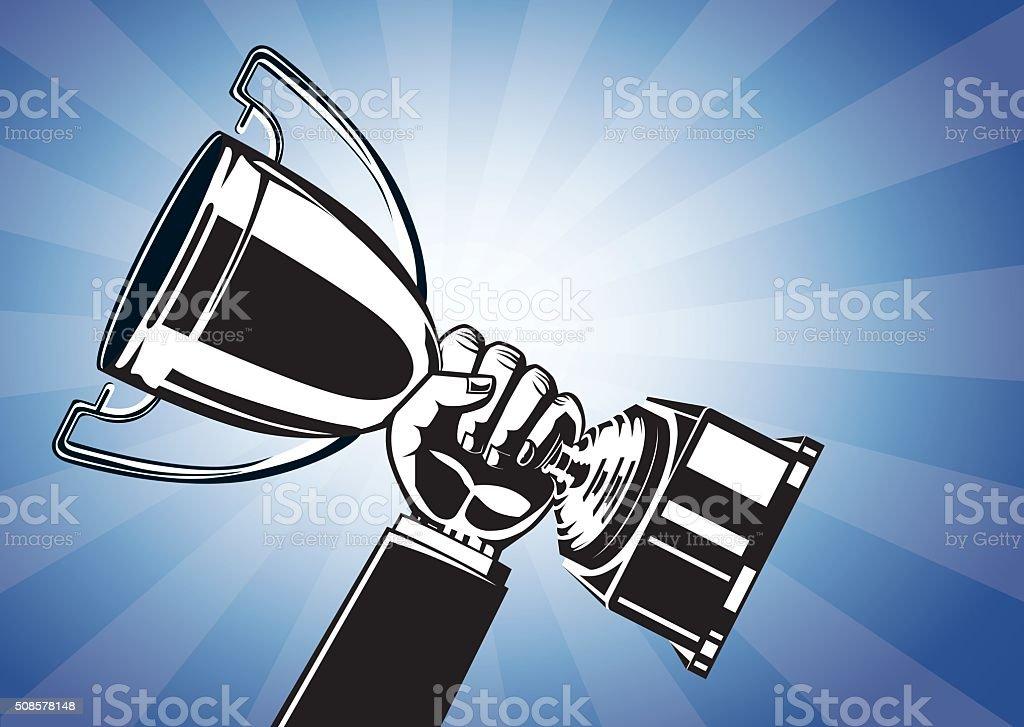 Mão segurando o troféu - ilustração de arte em vetor