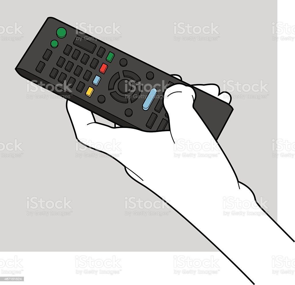 Hand Holding TV Remote Line Art vector art illustration