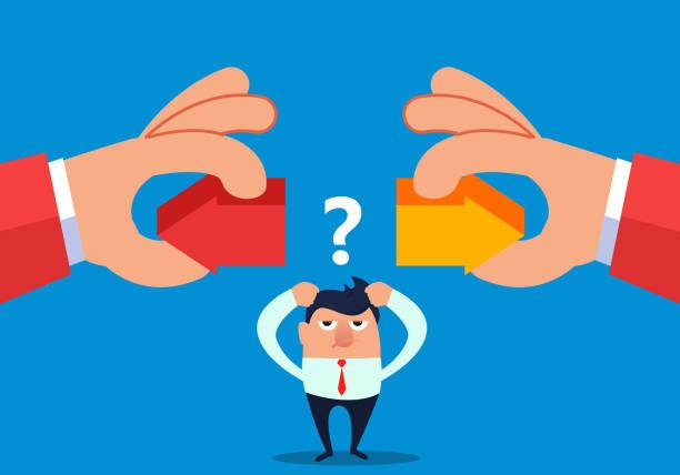 illustrazioni stock, clip art, cartoni animati e icone di tendenza di hand holding two arrows left or right to let businessman choose - mancino