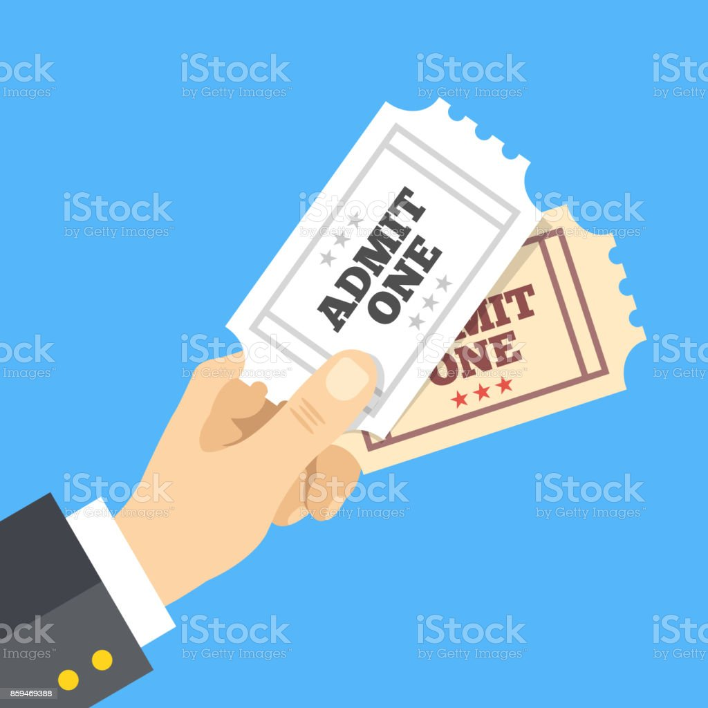 Hand holding two cinema tickets. Entertainment, cinema concept. Vector illustration