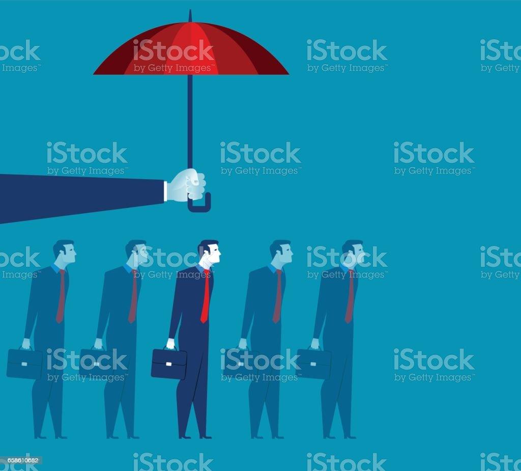 Parapluie de tenue main au-dessus l'homme d'affaires. Illustration de concept de business. Vector plate - Illustration vectorielle