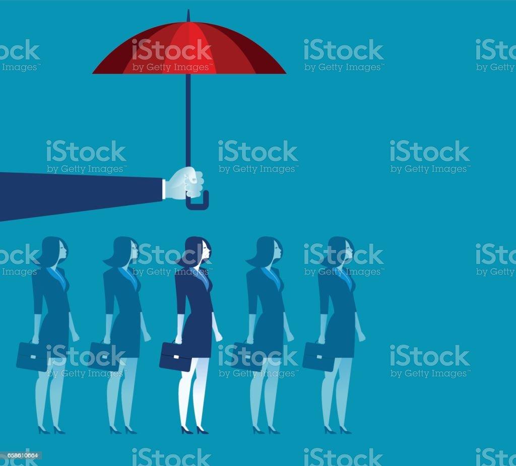 Parapluie tenue de main au-dessus de femme d'affaires. Illustration de concept de business. Vector plate - Illustration vectorielle