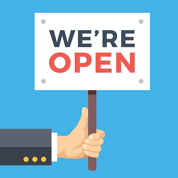 Hand holding we are open banner. Wooden sign, paper placard Hand holding we are open banner. Wooden sign, paper placard with title. Store opening, business hours concepts. Modern vector illustration open sign stock illustrations
