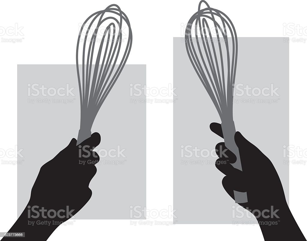 Hand Holding Whisk Silhouette vector art illustration