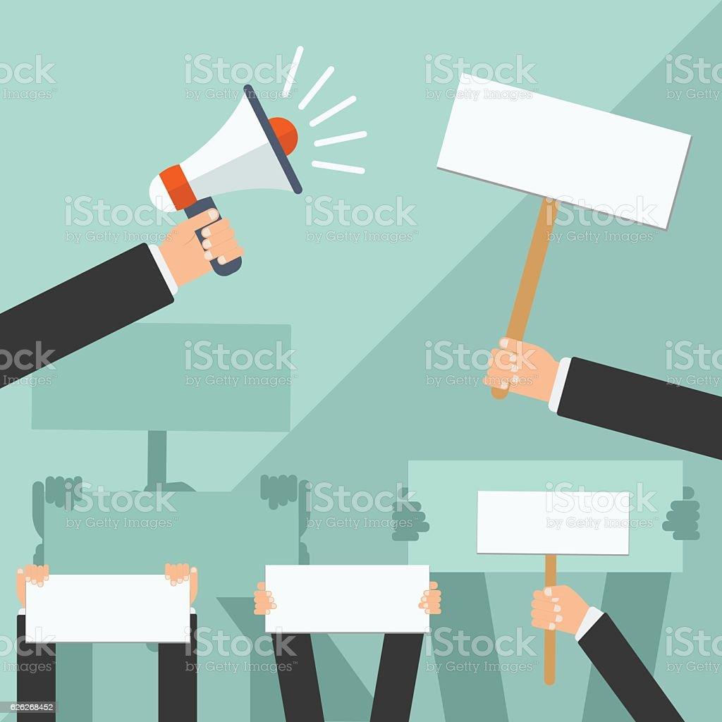 Hand holding white blank banner, flat design icons. Vector illustration. vector art illustration