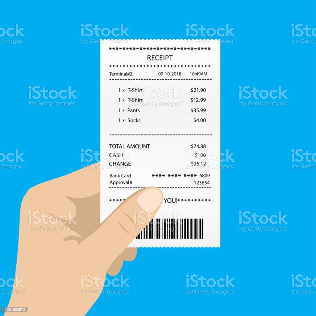 ilustración de recibo en blanco de cartera blanca de mano y más