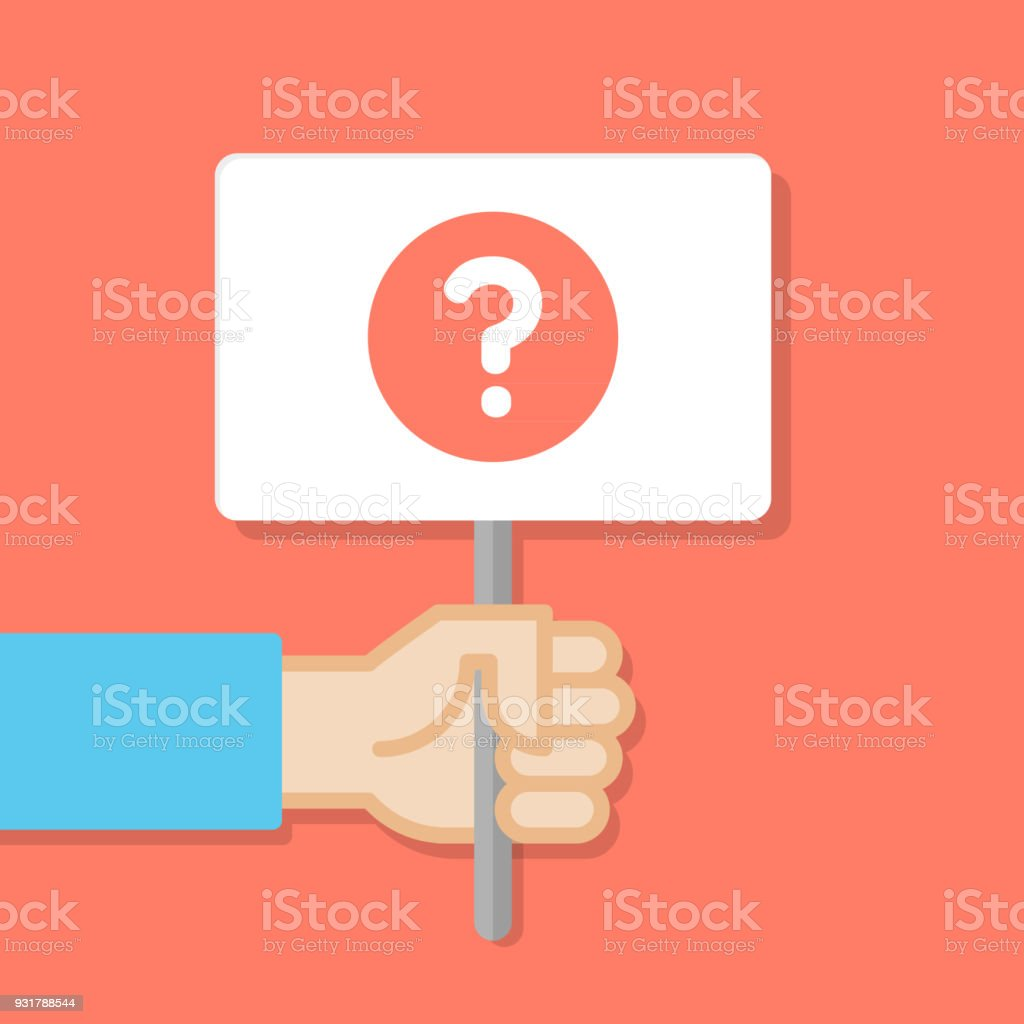 Hand holding white board. Banner with minimal icon. Query symbol. Concept of protest. Vector illustration, flat style. vector art illustration