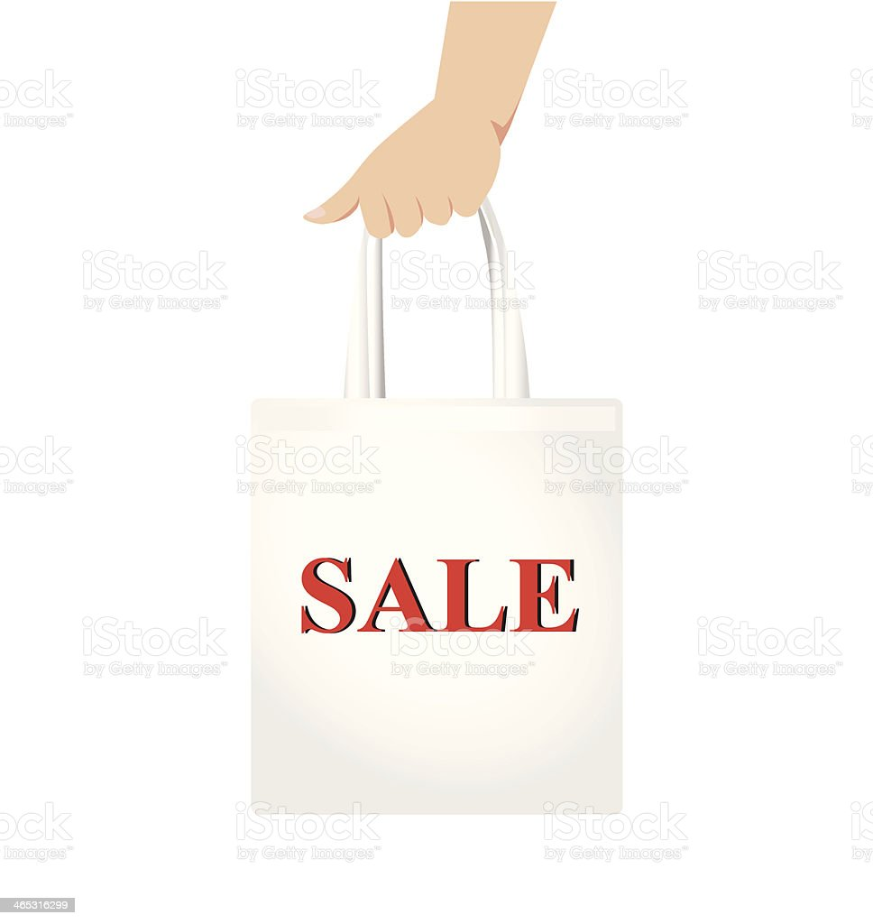 a75ba7a3284c Hand holding white shopping bag with red sale sign Vector royalty-free hand  holding white