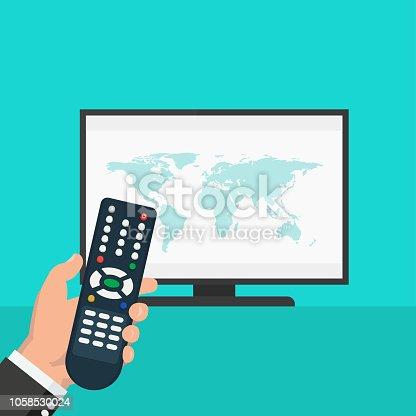 World news on tv - stock vector